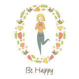 Cute doodle postcard, card, cover with happy blonde girl Royalty Free Stock Photos