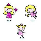 Cute doodle Princess & Fairy stitch figures set. stock illustration