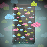 Cute doodle rainy clouds pattern on smart phone. Royalty Free Stock Photo