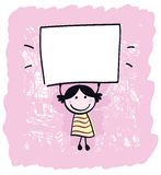 Cute doodle retro kid holding blank banner sign. Happy cute little girl holding empty blank banner - cartoon illustration Royalty Free Stock Photo