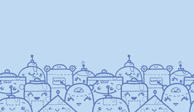 Cute doodle robots horizontal seamless pattern Stock Photos