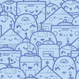 Cute doodle robots seamless pattern background Royalty Free Stock Photos