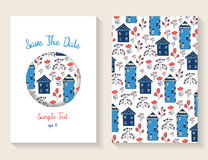Cute doodle save the date or baby shower card Stock Photos
