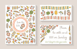 Cute doodle save the date or baby shower card, invitation, brochure, cover Royalty Free Stock Image