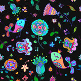 Cute doodle seamless floral pattern with birds Stock Photo