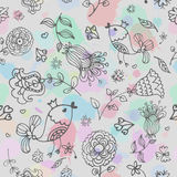 Cute doodle seamless floral pattern with birds Stock Photography