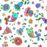 Cute doodle seamless floral pattern with birds Royalty Free Stock Photo