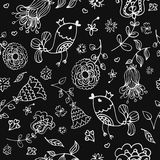 Cute doodle seamless floral pattern with birds Stock Image