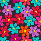 Cute doodle seamless floral spring background Royalty Free Stock Image