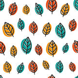 Cute doodle seamless pattern with bright leaves Royalty Free Stock Photography