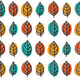 Cute doodle seamless pattern with bright leaves Royalty Free Stock Photo