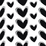 Cute doodle seamless pattern. Heart hand drawings. Background for creativity. Black and white Royalty Free Stock Photos