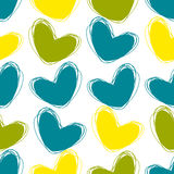 Cute doodle seamless pattern. Heart hand drawings. Background for creativity. Blue, green, yellow Stock Photo