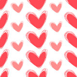 Cute doodle seamless pattern. Heart hand drawings. Background for creativity. Rose and white Stock Photo
