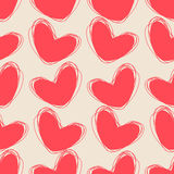 Cute doodle seamless pattern. Heart hand drawings. Background for creativity. Rosy, cream colors Stock Image