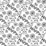 Cute doodle seamless pattern with hearts, flowers, ladybirds, smiles, butterfly and letter. Happy day background. Royalty Free Stock Image