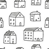 Cute doodle seamless pattern with sketch houses Royalty Free Stock Images