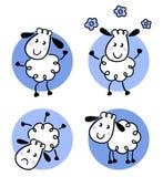 Cute doodle sheep collection. Happy doodle sheep set. Vector cartoon Stock Photos