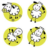 Cute doodle sheep set stock illustration