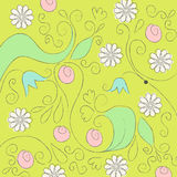 Cute doodle spring background illustration Stock Photo