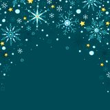Doodle style vector snowflakes and stars frame background stock photos
