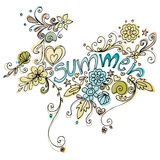 Cute doodle summer background Stock Image