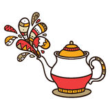 Cute doodle teapot Stock Photo