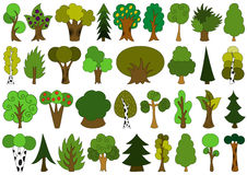 Cute doodle trees, tree doodles set, isolated on white Royalty Free Stock Photos