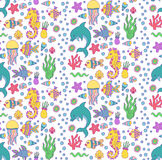 Cute doodle underwater sea seamless vector pattern Stock Photo