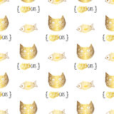 Cute doodle vector cats seamless pattern. Royalty Free Stock Images