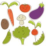 Cute doodle vegetables. Illustration Stock Images