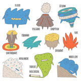 Cute doodle weather cataclysm,catastrophe collection. Including flood, fire, volcano eruption, storm, earthquake Stock Images