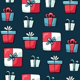 Cute doodles Christmas elements. Vector hand drawn illustration. Christmas presents pattern. Design for printed, fabric royalty free illustration