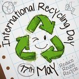 Cute Doodles in Notebook Paper for International Recycling Day Celebration, Vector Illustration. Cute doodles drawing with recycling arrows and a smiling face Royalty Free Stock Photos