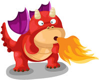 Cute dragon. Illustration of isolated cute dragon blow fire on white Royalty Free Stock Photo