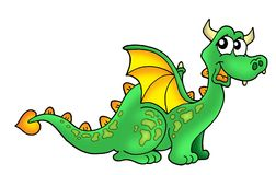 Cute dragon. Color illustration of cute green dragon royalty free illustration