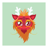 Cute dragon avatar with flat colors Stock Photography