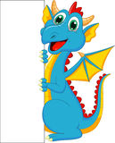 Cute dragon cartoon with blank sign Stock Image