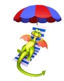 Cute Dragon cartoon character with beach chair Royalty Free Stock Photo