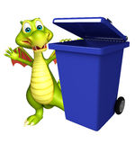 Cute Dragon cartoon character with dustbin Royalty Free Stock Images