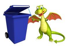 Cute Dragon cartoon character with dustbin Stock Photos