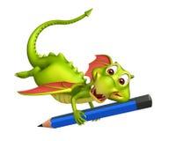 Cute Dragon cartoon character with pencil. 3d rendered illustration of Dragon cartoon character with pencil Stock Photos