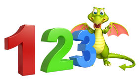Cute Dragon cartoon character with 123 sign. 3d rendered illustration of Dragon cartoon character with 123 sign royalty free illustration