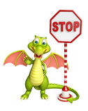 Cute Dragon cartoon character with stop sign. 3d rendered illustration of Dragon cartoon character with stop sign Royalty Free Stock Photo