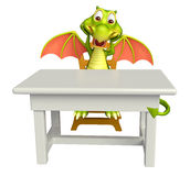Cute Dragon cartoon character with table and chair Stock Image
