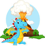 Cute dragon cartoon with volcano background Royalty Free Stock Images