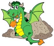 Cute dragon in cave. Vector illustration Royalty Free Stock Image