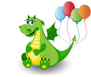 Cute dragon. With a colorful baloons Royalty Free Stock Photo