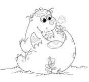 Cute coloring baby dragon. Cartoon baby dragon smelling a flower. Coloring vector for children Stock Images