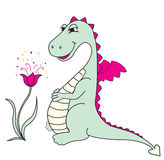 Cute dragon with flower Stock Image